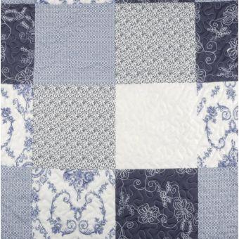Tissu matelassé broderie bleu grande largeur