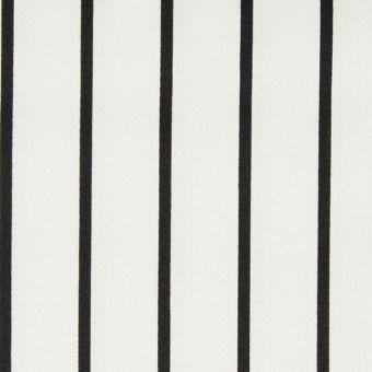 Tissu satin de coton blanc à rayures noires