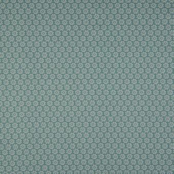 Tissu popeline coton à motifs fleurs vert gris