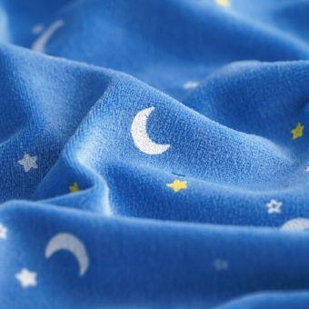 Tissu velours éponge bleu lunes étoiles