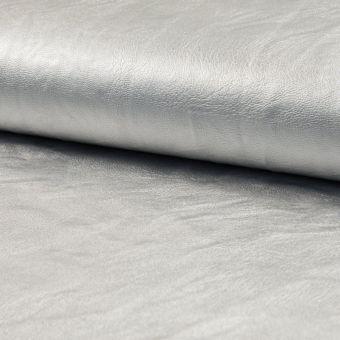 Tissu simili cuir métallisé argent