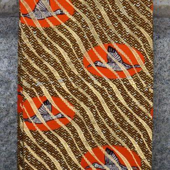 Tissu wax doré motifs oiseaux oranges