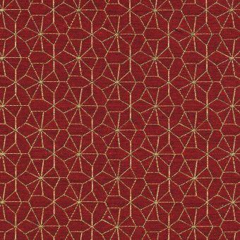 Tissu jacquard rouge étoiles dorées