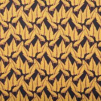 Tissu cretonne coton motifs feuilles horta jaune et anthracite