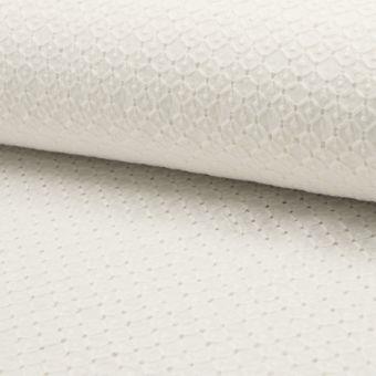 Tissu coton à broderies anglaises losanges et pois écru