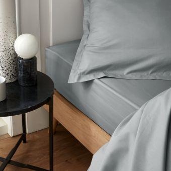 Drap housse percale gris 90 x 190 cm