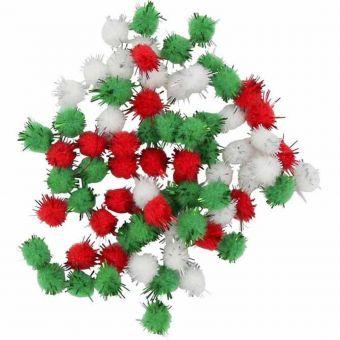 Pompon pailleté glitters rouge vert blanc 0,8 cm 200 pièces