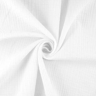 Tissu double gaze coton bio blanc