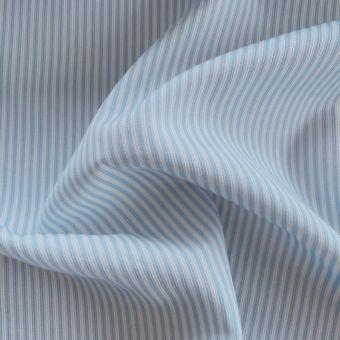 Tissu piqué de coton motifs rayures bleu