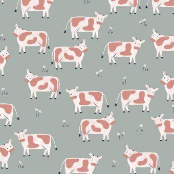 Tissus popeline de coton Dashwood motifs vaches gris