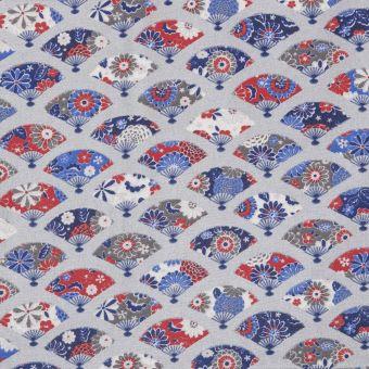 Tissu coton enduit imprimé fleurs Akémi argent