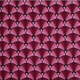 Tissu jacquard éventails Galice rose