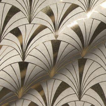 Tissu bachette de coton éventail doré