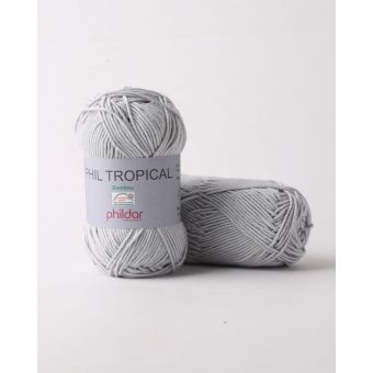 Pelote de fil à tricoter Phildar Tropical gris perle