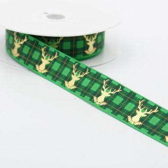 Ruban Noël cerf doré carreaux vert
