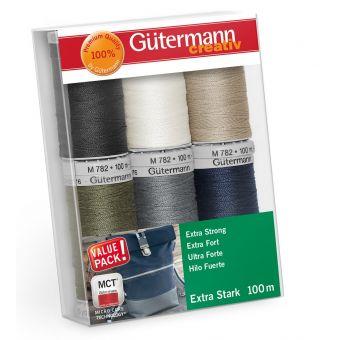 Set de 6 bobines de fil polyester extra fort - Gutermann