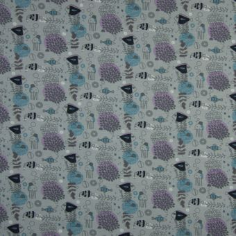 Tissu jersey coton bio gris animaux