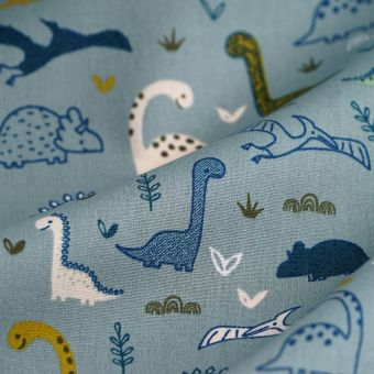 Tissu popeline coton vert dinosaures