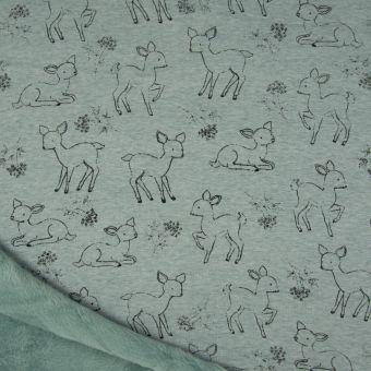 Tissu molleton sweat cerf vert à envers polaire alpfleece cerf
