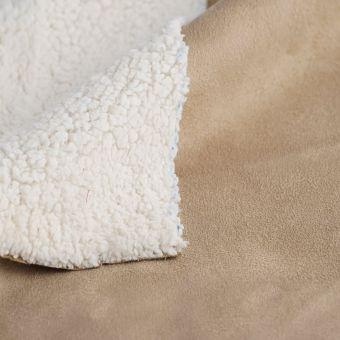 Tissu suédine double face mouton beige