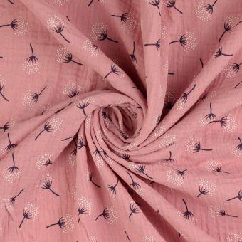 Tissu double gaze de coton enfant vieux rose imprimé fleurs de coton