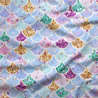 Tissu jersey lourd recyclé pour maillot de bain multicolore Sirène - La Panda Love Fabrics