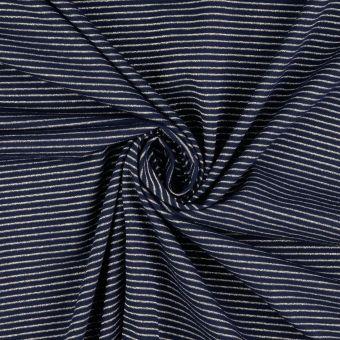 Tissu jersey coton bleu rayures argentées