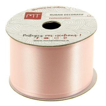 Bobine ruban satin rose poudré 38 mm