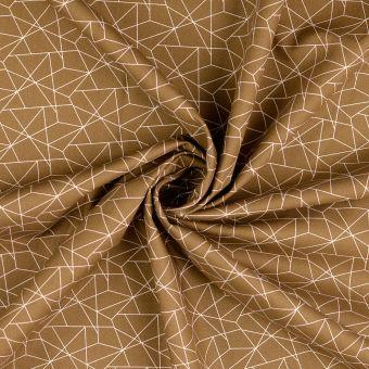Tissu popeline de coton marron à motif origami