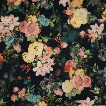 Tissu popeline noir fleurs