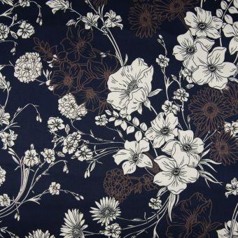 Tissu satin de coton floral bleu marine