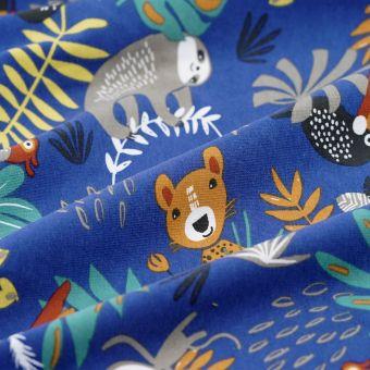Tissu jersey coton singe papaya bleu marine