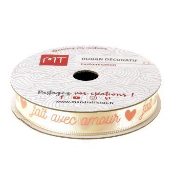 "Bobine ruban satin ""Fait avec amour"" 9 mm"