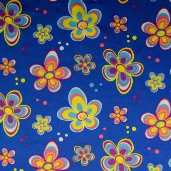 Tissu satin carnaval fleurs bleu