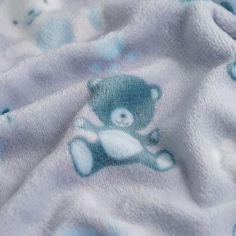 Tissu douillette ourson bleu