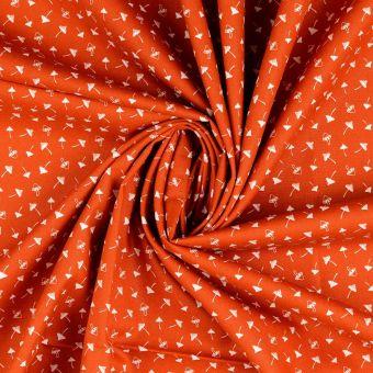 Tissu popeline de coton orange terracotta à motifs champignons