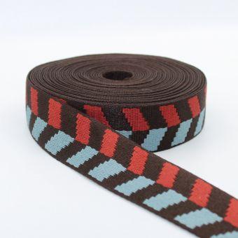 Ruban sangle motif damier flèche 36mm marron bleu rouge