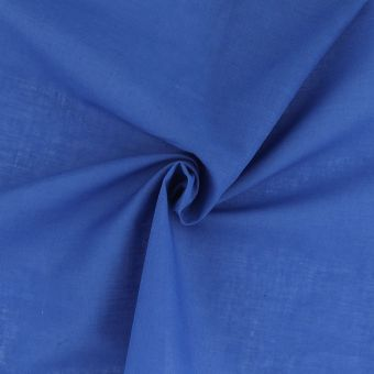 Tissu voile de coton uni bleu électrique