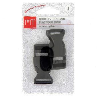 Boucles à ouverture rapide noires en plastique 20 mm