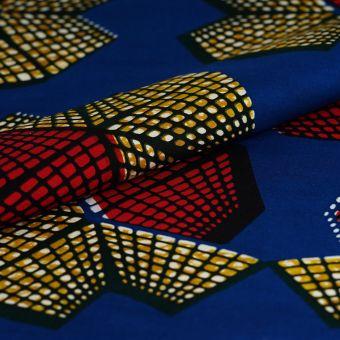 Tissu wax cubes rouges jaunes