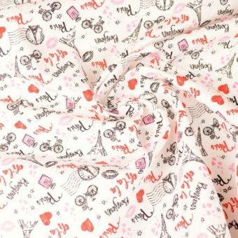 Tissu cretonne en coton blanc à motifs Paris coeur