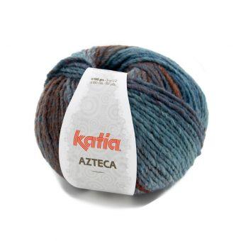 Pelote de fil à tricoter Katia Azteca bleu rouille marron