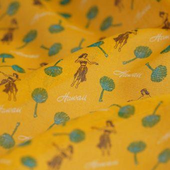 Tissu voile coton jaune moutarde Hawaï