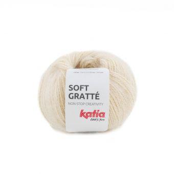 Fil à tricoter Katia soft gratté crème pour peaux sensibles