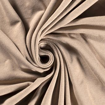 Jersey coton polyester recyclé beige