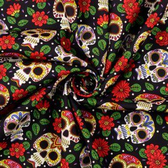 Tissu popeline de coton tête de mort noir