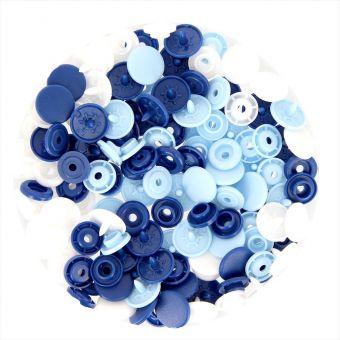 Boutons-pression Color Snaps bleu et blanc